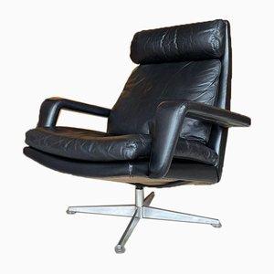 Vintage Leather & Teak Lounge Armchair by Hans Kaufeld, 1970s