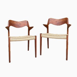 Mid-Century Danish Teak Model 55 Dining Chairs by Niels Moller, Set of 2