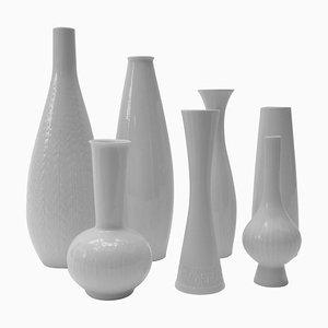 White Porcelain Vases, Germany, 1970s, Set of 7