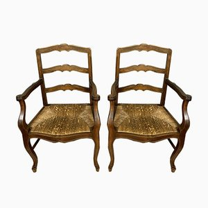 Rustic Wooden Chairs, 1920s, Set of 2