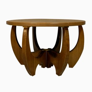 Art Deco Style Stained Wood & Brass Coffee Table, 1980s