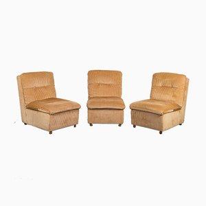 Vintage Light Brown Velvet Modular Lounge Chairs, 1970s, Set of 3
