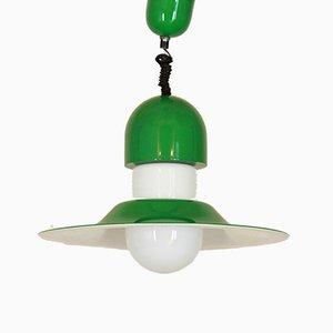 Vintage Green & White Ceiling Lamp, 1970s