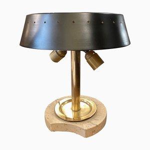 Lampe de Bureau en Travertin et Laiton de Fratelli Mannelli, Italie, 1960s
