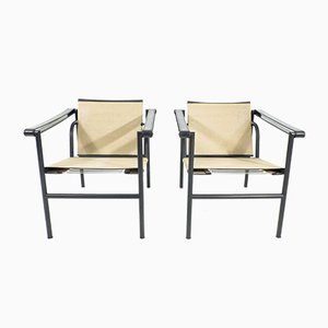 LC1 Armchairs by Charlotte Perriand and Le Corbusier for Cassina, 1970s, Set of 2