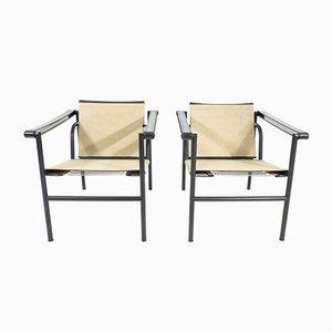 Poltrone LC1 di Charlotte Perriand e Le Corbusier per Cassina, anni '70, set di 2