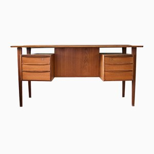 Mid-Century Danish Teak Executive Desk with Floating Top, 1960s