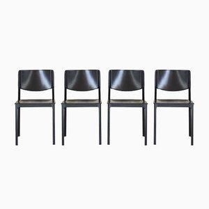 Chaises de Salon en Cuir et en Aluminium de Matteo Grassi, 1980s, Set de 4