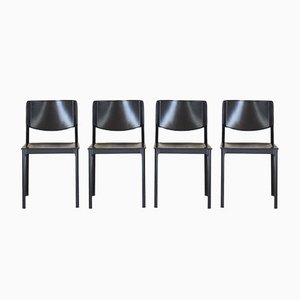 Leather & Aluminum Dining Chairs from Matteo Grassi, 1980s, Set of 4