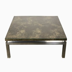 Italian Coffee Table with Silver & Bronze Patina and Craquelé Decor, 1970s