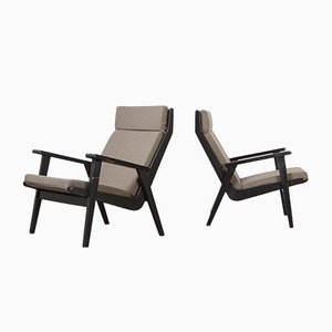 Black Lacquered Beech 1611 Lounge Chairs by Rob Parry for Gelderland, 1952, Set of 2