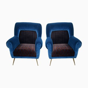 Mid-Century Patterned Velvet Lounge Chairs, Set of 2