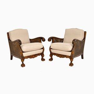 Antique Swedish Satin Birch Bergere Lounge Chairs, 1920s, Set of 2