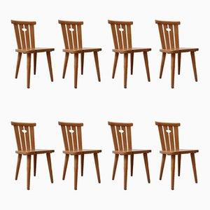 Mid-Century Swedish Pine Dining Chairs, Set of 8