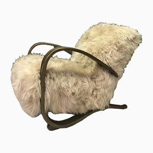 Vintage Brown Sheepskin Armchair