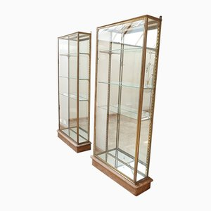 Antique French Brass & Glass Cabinets, 1900s, Set of 2