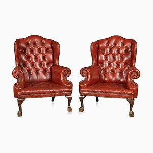 English Leather Wing Back Armchairs, 1970s, Set of 2