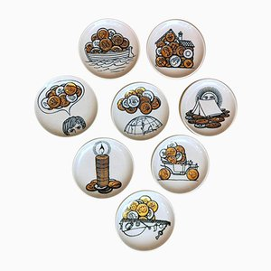 Vintage Porcelain Coasters by Piero Fornasetti for Banca Unione Milan, Set of 8