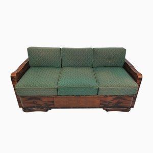 Sofá cama Art Déco de nogal, años 40