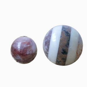 Vintage Marble Decorative Balls, Set of 2