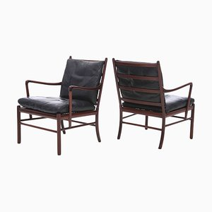 Danish Colonial Mahogany & Leather PJ149 Armchairs by Ole Wanscher for P. Jeppesen, 1950s, Set of 2