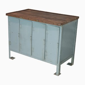 Vintage Steel Working Bench & Cabinet