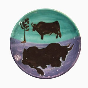 Toros Plate by Pablo Picasso for Madoura, 1952