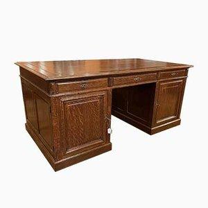 French Oak Pedestal Desk, 1800s