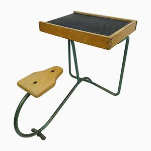 Vintage Industrial Metal and Wood Children's Desk
