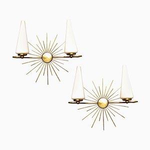 Mid-Century Brass & Glass Sunburst Sconces from Lunel, 1960s, Set of 2
