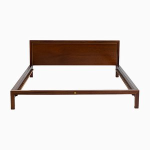 Wood & Brass Bed Frame by Balmain, 1980s