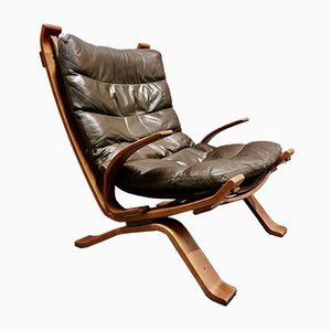 Scandinavian Leather Lounge Chair from Bramin, 1960s