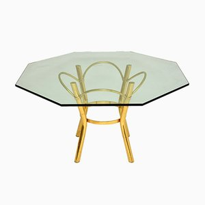 Vintage Brass & Glass Dining Table, 1970s