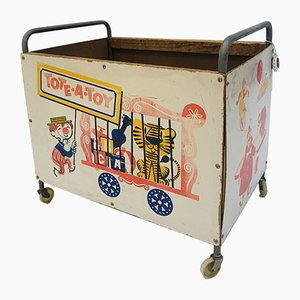 Vintage Tote-a-toy Toy box on Wheels, 1970s
