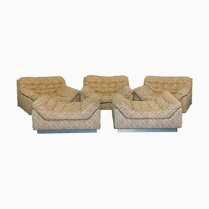 Vintage Beige Fabric Lounge Chairs & Poufs Set, 1970s, Set of 5