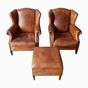 Vintage Sheepskin Leather Wingback Lounge Chairs by Nico van Oorschot for Nico van Oorschot, Set of 3