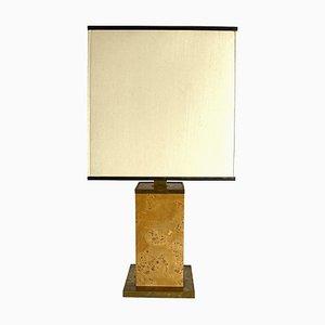 Italian Burl & Brass Table Lamp, 1970s