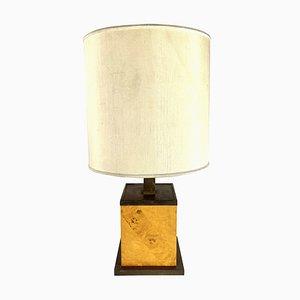 Italian Burl & Brass Cubic Table Lamp, 1970s