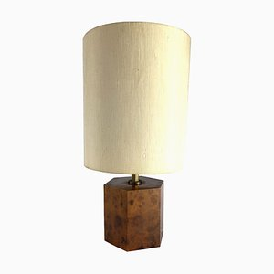 Italian Burl & Brass Hexagonal Table Lamp, 1970s