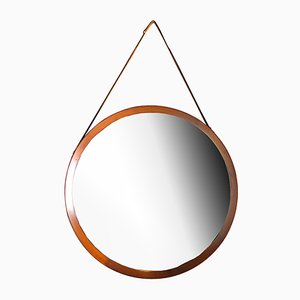 Nordic Mirror with Leather Hanger, 1960s