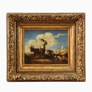 Antique Painting Landscape Frame, 18th Century