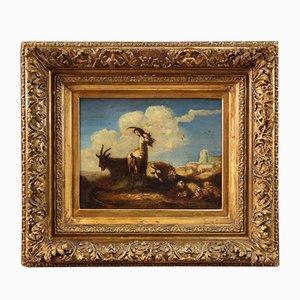 Cadre Peint Paysage Antique, 18ème Siècle