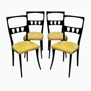 Ebonized Wood & Yellow Velvet Side Chairs by Ico Parisi, 1950s, Set of 4