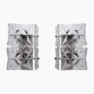 Mid-Century Modern Crystal Glass Sconces from Kinkeldey, 1960s, Set of 2