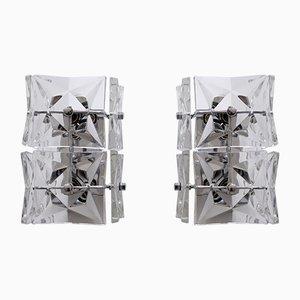 Moderne Mid-Century Wandleuchten aus Kristallglas von Kinkeldey, 1960er, 2er Set