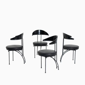 Vintage Black Wood Dining Chairs by Philippe Starck, Set of 4