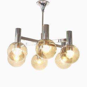 Lámpara de araña italiana grande de metal cromado al estilo de Sciolari, años 60