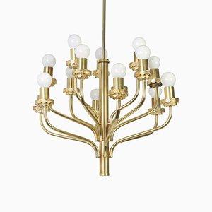 Lámpara de araña Mid-Century de latón al estilo de Sciolari, años 70