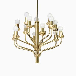 Mid-Century Brass Chandelier in the Style of Sciolari, 1970s
