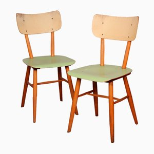 Czech Painted Wooden Dining Chairs from TON, 1960s, Set of 2